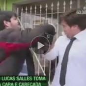 Repórter do CQC é agredido durante entrevista ao vivo