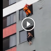 Bombeiro salva mulher de cometer suicídio com chute na cara !