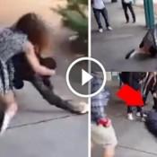 Menina nocauteia menino em briga de escola no Canada