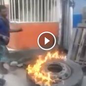 O velho truque de encher pneu com fogo, não deu muito certo nesse dia