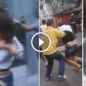 Homem revida agressão e joga mulher no valão