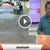 A moto que foi engolida por um buraco ao vivo na TV