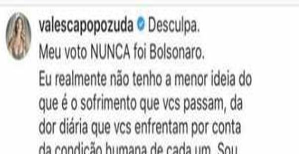 Valesca Popozuda esqueceu de trocar de perfil, e elogiou a si mesma na própria postagem
