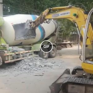 É isso que acontece quando o concreto seca dentro do caminhão